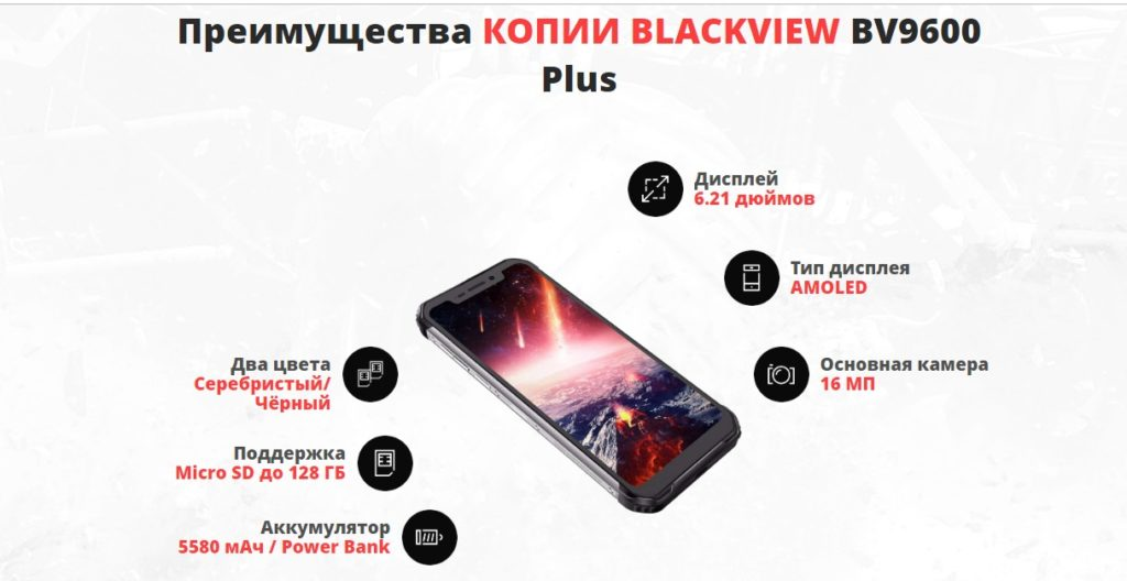 Копия BLACKVIEW BV9600 Plus плюсы